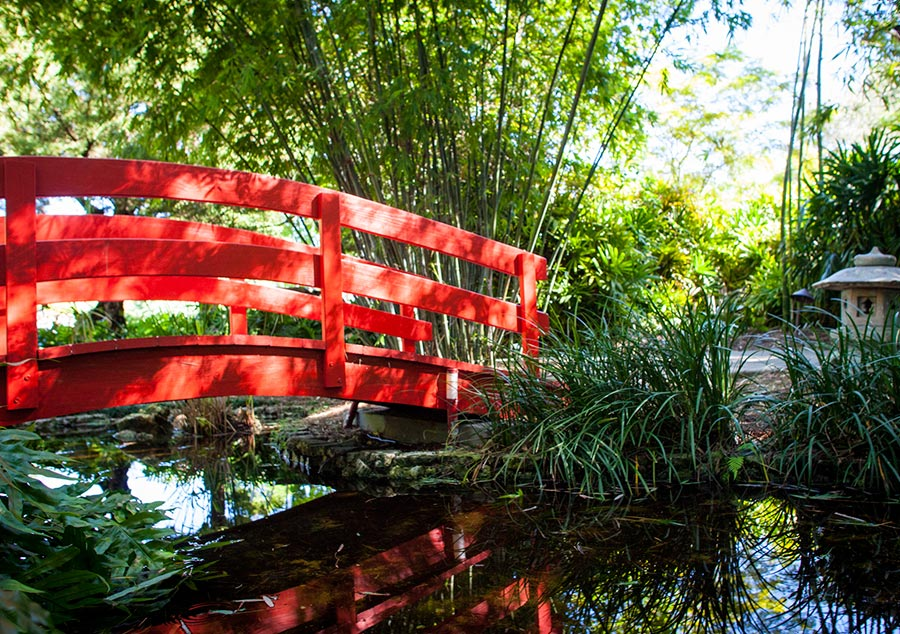 Beau Miami Beach Botanical Garden: Japanese Garden Red Bridge